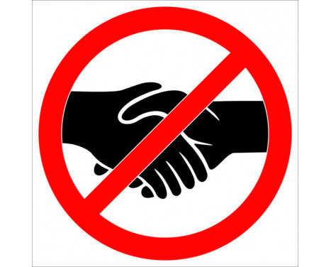 Klistermärke Förbjudet att skaka hand - 15cm