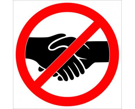 Klistermärke Förbjudet att skaka hand - 32cm
