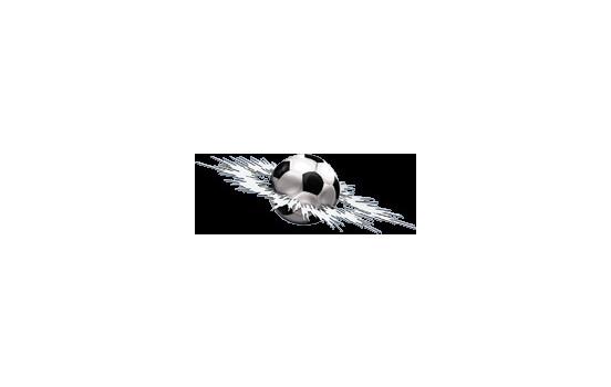 Klistermärke Grafisk Crashed fotboll - 24x7x5cm