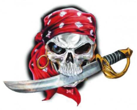 Klistermärke piratkopierar skallen - 11x9cm