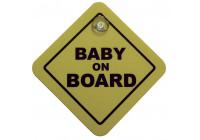 Klistermärke / Plate Baby On Board - gul - 16x16cm