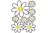 Klistermärken blommor - vit - 24,5x32,5cm