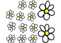 Klistermärken Blommor - vit / gul - 13.5x15.5cm