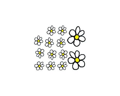 Klisterm�rken Blommor - vit / gul - 13.5x15.5cm