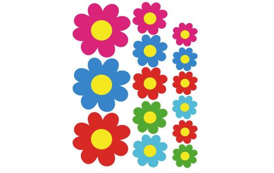 Klistermärken Färgade blommor - 24,5x32x5cm