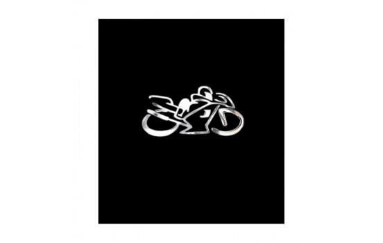 Nickel Sticker 'Motorcyklist' - 75x40mm