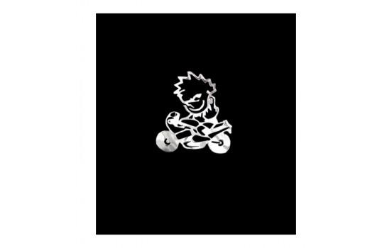 Nickel Sticker 'Naughty on the motorcykel' - 60x60mm
