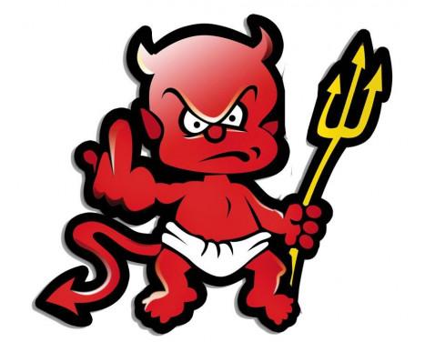Sticker Devil + Pitchfork - r�d - 9x9cm