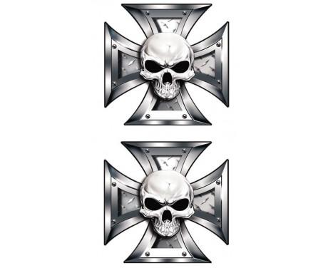 Stickerset skalle + Svart �gon i Iron Cross - 2x 8x8cm