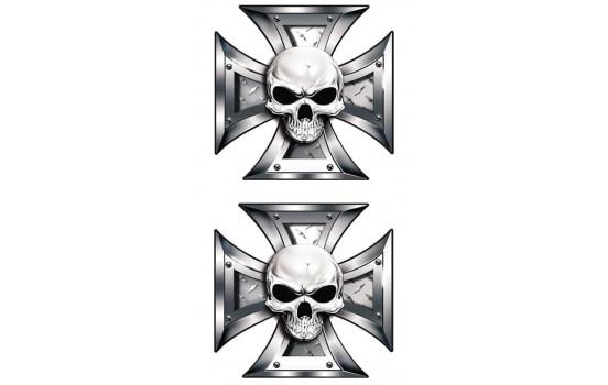 Stickerset skalle + Svart Ögon i Iron Cross - 2x 8x8cm