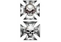 Stickerset skallen i Iron Cross - 2x 8x8cm