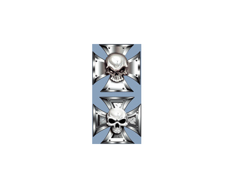 Stickerset skallen i Iron Cross - 2x 8x8cm, bild 3