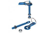 Set Universal motorhuv krokar / stift - blå aluminium