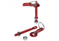 Set Universal motorhuv krokar / stift - röd aluminium