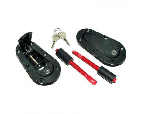 Set Universal Racing Plus Flush motorhuv krokar / pin + lock - svart + r�d aluminium stift