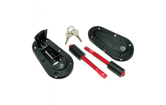 Set Universal Racing Plus Flush motorhuv krokar / pin + lock - svart + röd aluminium stift