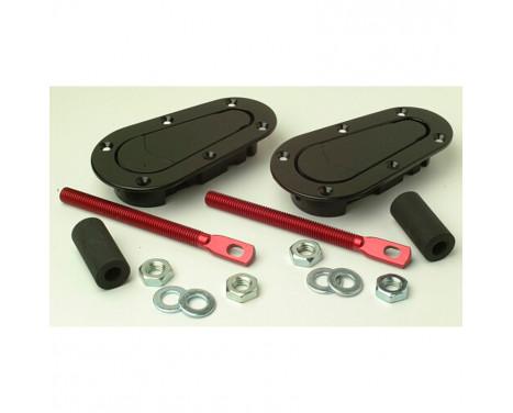 Set Universal Racing Plus Flush motorhuv krokar / stift - svart + r�d aluminium stift