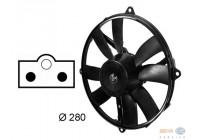 Ventilator, condensator airconditioning links