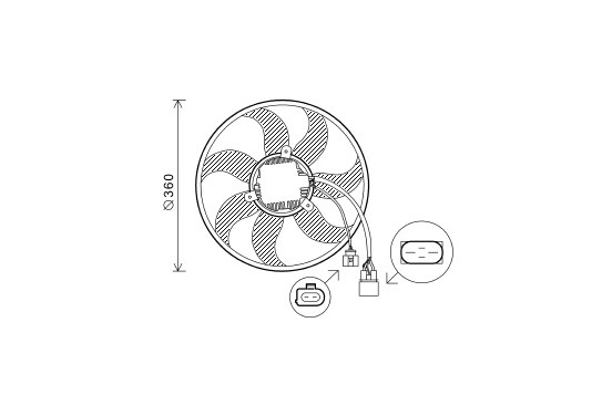 KOELVENTILATOR  VAG 360mm 220W Left 5894745 Van Wezel