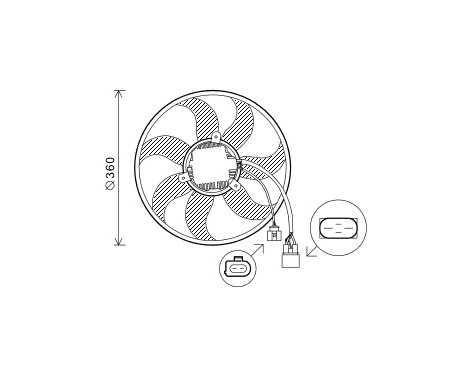 KOELVENTILATOR  VAG 360mm 220W Left