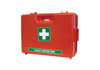 First aid kit orange with wall holder, double compartment