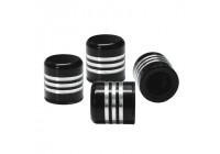 Simoni Racing Set ventielkapjes - Zwart + Aluminium Ringen