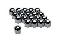 Set universele wielmoerkapjes - Chroom Staal - 17mm - set á 20 stuks