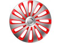 4-Delige J-Tec Wieldoppenset Sepang 17-inch zilver/rood/carbon-look