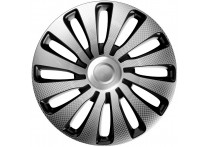 4-Delige J-Tec Wieldoppenset Sepang 17-inch zilver/zwart/carbon-look