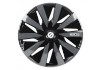 4-Delige Sparco Wieldoppenset Lazio 16-inch zwart/grijs