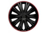 4-Delige Wieldoppenset Giga R 13-inch zwart/rood