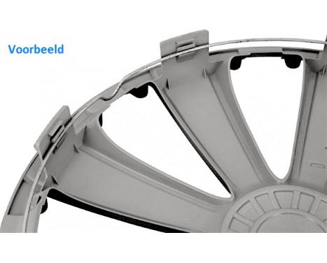 4-Delige Wieldoppenset Rapide NC   Silver&Black 14 inch, Afbeelding 2
