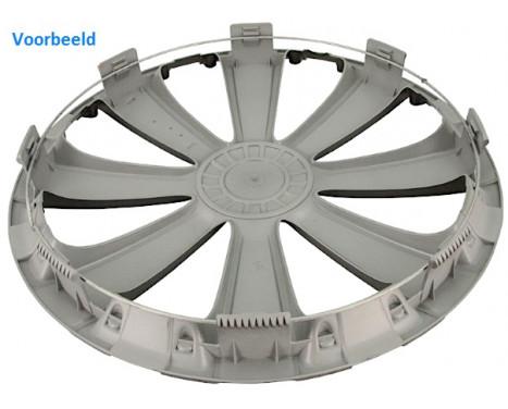 4-Delige Wieldoppenset Rapide NC   Silver&Black 14 inch, Afbeelding 3