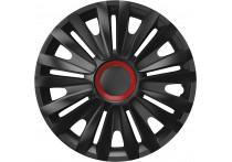 4-Delige Wieldoppenset Royal Red  Ring Black 14 inch