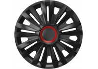 4-Delige Wieldoppenset Royal Red  Ring Black 16 inch