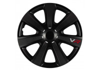 4-Delige Wieldoppenset VR 13-inch zwart/carbon-look/logo