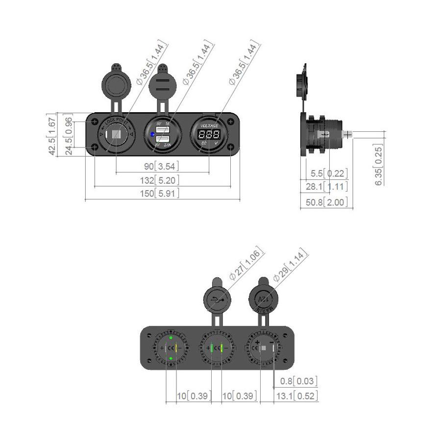 inbouw usb adapter 3-in-1