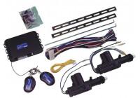 Universal centrallås kit - 2-dörrars - inklusive två motorer och två fjärrkontroller.