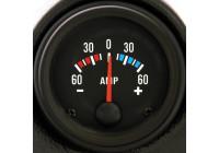Svart Prestanda Instrument Ampere -60> 60 52mm