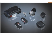 Universal 1-way car alarm with start / stop button and 2 remote controls