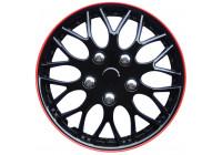 Jeu d'enjoliveurs de roue Missouri 15 pouces, bordure noire / rouge