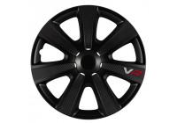 Jeu d'enjoliveurs de roue VR 15 pouces noir / look carbone / logo