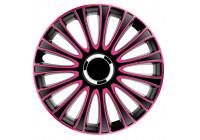 Jeu de enjoliveurs de roue 4 pièces LeMans 14 pouces noir / rose