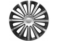 Jeu de enjoliveurs de roue 4 pièces tendance argent et noir 15 pouces
