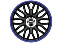 Jeu de enjoliveurs de roue J-Tec, 4 pièces, commande R 13 pouces, noir / bleu + anneau chromé