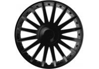 Jeu de raccords de roue 4 pièces, cristal noir 16 pouces