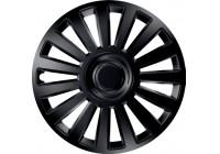 Jeu de raccords de roue 4 pièces de luxe, noir, 16 pouces