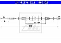 Tirette à câble, frein de stationnement 24.3727-0102.2 ATE