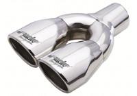Simoni Racing Uitlaatsierstuk Dubbel Ovaal/Schuin RVS - 86x63xL235mm - Montage -> 34 mm - 57 mm