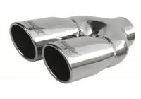 Simoni Racing Uitlaatsierstuk Dubbel Rond/Schuin RVS - Diameter 76mm - Lengte 230mm - Montage 58mm